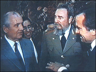 Fidel Castro introduces Kirby Jones to Mikhail Gorbachev